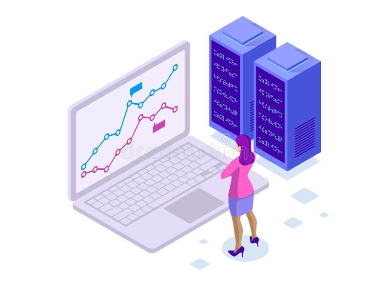 KonzeptGeschäftsstrategie Illustration von Datenfinanzdiagrammen oder von Diagrammen, Informationsdatenstatistik Laptop und stock abbildung