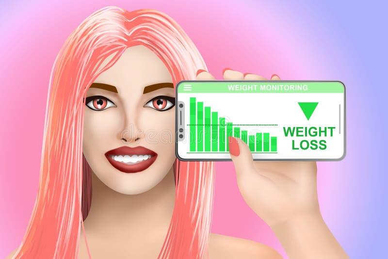 Konzeptgewichtsverlust Gezogenes schönes Mädchen auf buntem Hintergrund Abbildung vektor abbildung