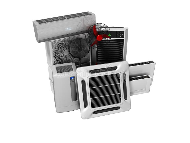 Konzeptgruppe Ausrüstung für Abkühlen und Klimaanlagenansicht von 3d, auf weißem Hintergrund keines Schattens zu übertragen lizenzfreie abbildung