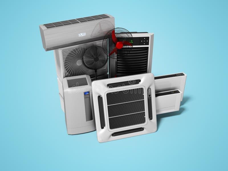 Konzeptgruppe Ausrüstung für auf blauem Hintergrund mit Schatten zu übertragen, Abkühlen und Klimaanlagenansicht von 3d vektor abbildung