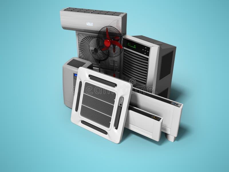 Konzeptgruppe Ausrüstung für auf blauem Hintergrund mit Schatten zu übertragen, das Abkühlen und Klimaanlage und Isolierung 3d lizenzfreie abbildung