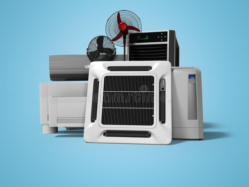 Konzeptgruppe Ausrüstung für auf blauem Hintergrund mit Schatten zu übertragen das Abkühlen, und Klimaanlage von großen Räumen 3d lizenzfreie abbildung