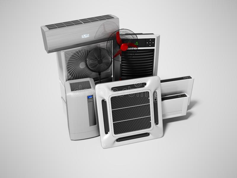 Konzeptgruppe Ausrüstung für auf grauem Hintergrund mit Schatten zu übertragen, Abkühlen und Klimaanlagenansicht von 3d vektor abbildung