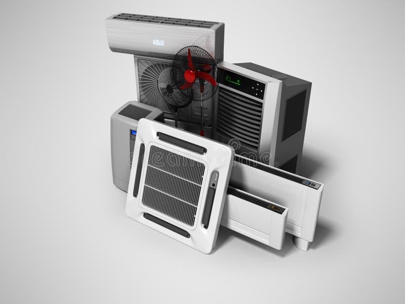 Konzeptgruppe Ausrüstung für auf grauem Hintergrund mit Schatten zu übertragen, das Abkühlen und Klimaanlage und Isolierung 3d vektor abbildung