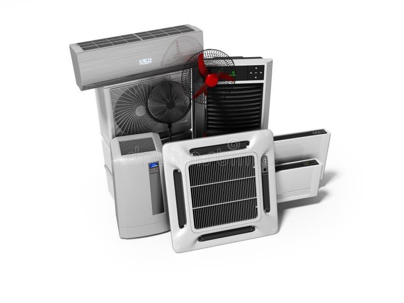 Konzeptgruppe Ausrüstung für auf weißem Hintergrund mit Schatten zu übertragen, Abkühlen und Klimaanlagenansicht von 3d stock abbildung