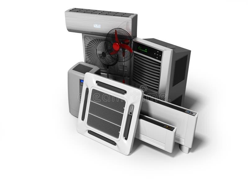 Konzeptgruppe Ausrüstung für auf weißem Hintergrund mit Schatten zu übertragen, das Abkühlen und Klimaanlage und Isolierung 3d lizenzfreie abbildung
