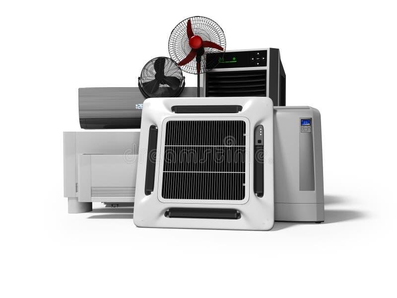 Konzeptgruppe Ausrüstung für auf weißem Hintergrund mit Schatten zu übertragen das Abkühlen, und Klimaanlage von großen Räumen 3d stock abbildung