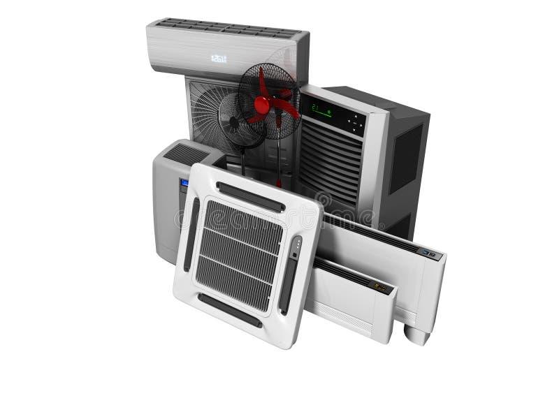 Konzeptgruppe Ausrüstung für das Abkühlen und Klimaanlage und Isolierung 3d, auf weißem Hintergrund keines Schattens zu übertrage lizenzfreie abbildung
