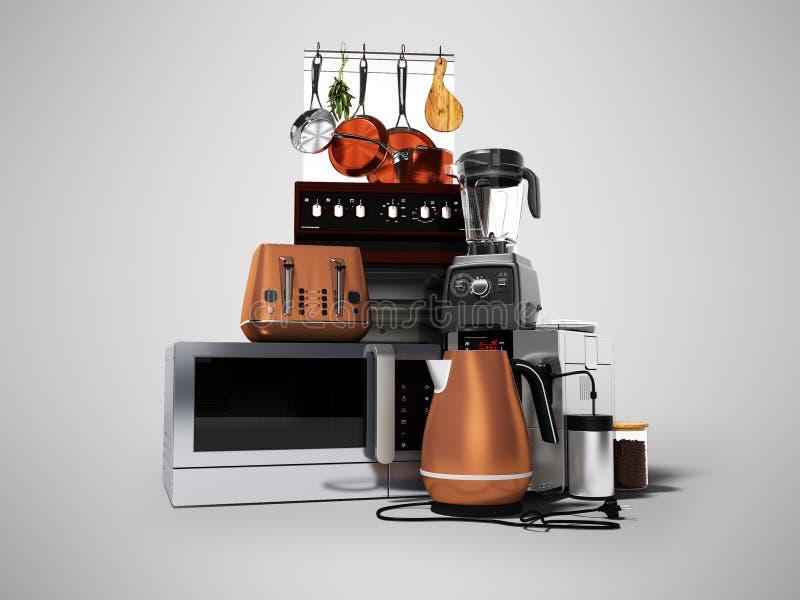 Konzeptgruppenküchenelektrogerätmikrowellenkaffeemaschinen-Mischmaschinenelektroherd mit elektrischem Ofen 3d auf Grau übertragen lizenzfreie abbildung