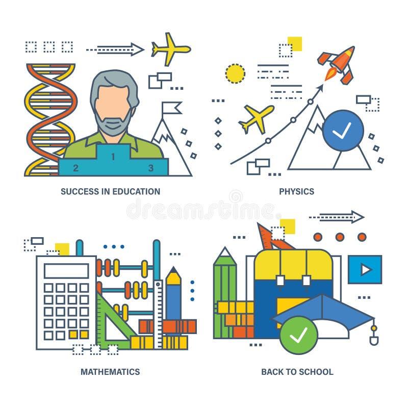 Konzeptillustration - Bildung und Erfolg beim Lernen, die Schuldisziplinen vektor abbildung