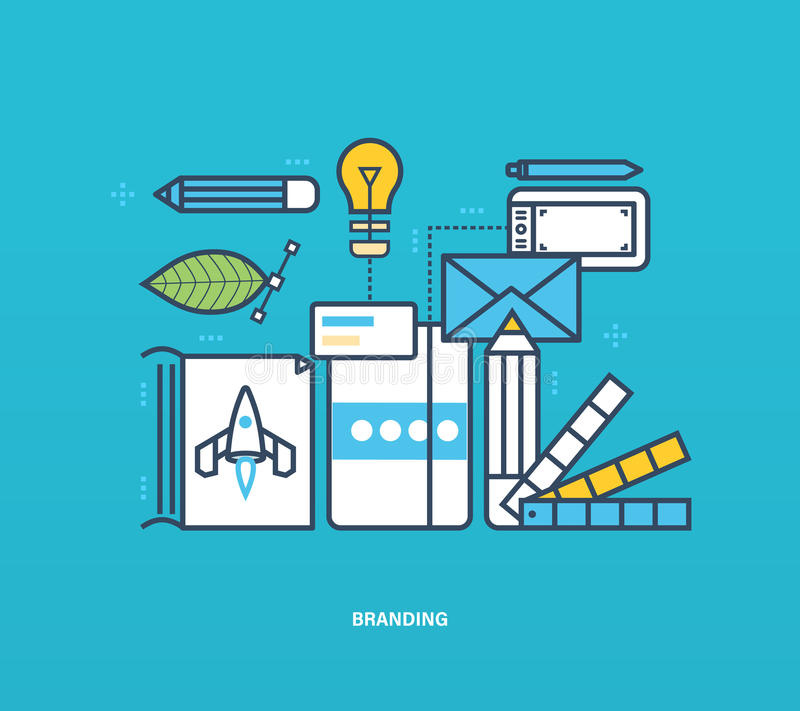 Konzeptillustration - Branding und Unternehmensidentitä5, auch Werkzeuge stock abbildung