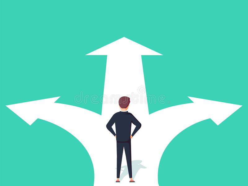 Konzeptillustration der unternehmerischen Entscheidung Geschäftsmann, der auf den Kreuzungen mit zwei Pfeilen und Richtungen steh lizenzfreie abbildung