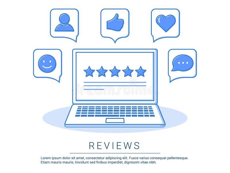 Konzeptillustration - Feedback, Berichte und Bewertungsreferenzen mit wie, Kommunikation Technologieberichte lizenzfreie abbildung