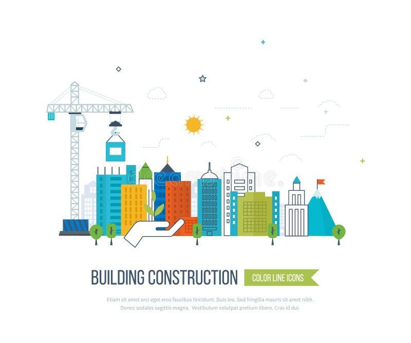 Konzeptillustration mit Ikonen des Hochbaus und der Stadtlandschaft lizenzfreie abbildung