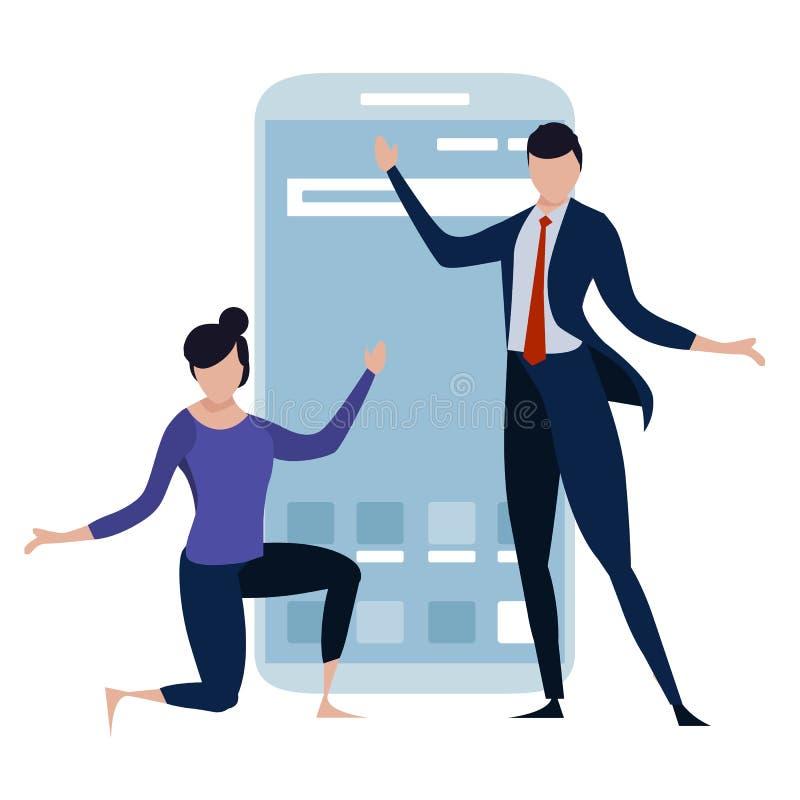 Konzeptillustration von den Geschäftsleuten, die anwesend sind, erklären flache Männer und die Frauen des mobilen Smartphone, die lizenzfreie abbildung