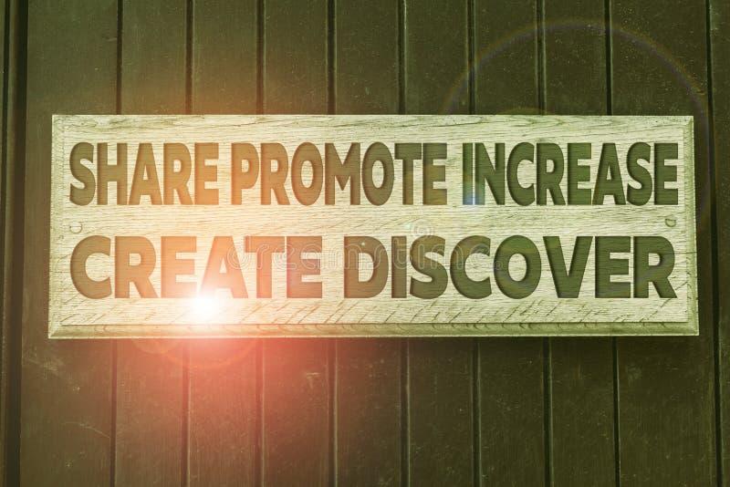 Konzeptionelle Handschrift, die Share Promote Increed Create Discover zeigt Business Foto Text Marketing Inspiration stockfotografie