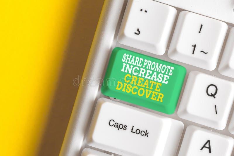 Konzeptionelle Handschrift, die Share Promote Increed Create Discover zeigt Geschäftsfoto-Präsentation von Marketinganreizen stockfotografie
