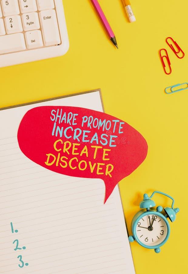 Konzeptionelle Handschrift, die Share Promote Increed Create Discover zeigt Geschäftsfoto-Präsentation von Marketinganreizen lizenzfreie stockbilder