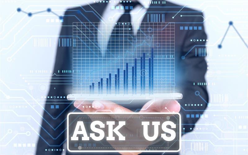Konzeptionelle Handschrift, die uns Ask zeigt Business-Fototext, der Fragen oder Anfragen von der Anzeige akzeptiert Will beantwo stockfoto
