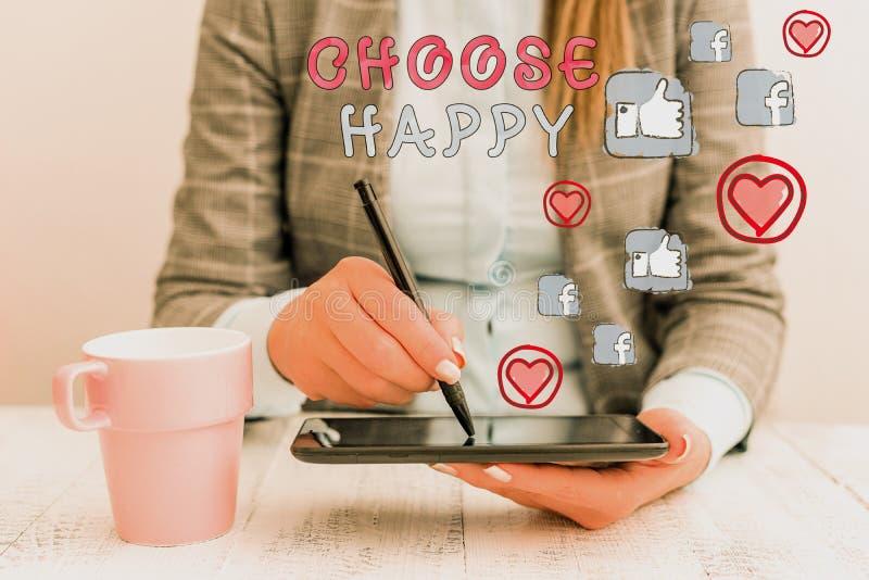 Konzeptionelle Handschrift mit dem Titel Choose Happy Business Foto Text Fähigkeit zu schaffen, reales und nachhaltiges Glück für lizenzfreie stockfotografie