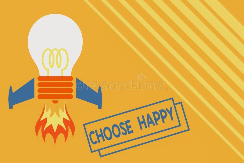 Konzeptionelle Handschrift mit dem Titel Choose Happy Geschäftsfotografie zeigt die Fähigkeit, wirkliches und dauerhaftes Glück f vektor abbildung