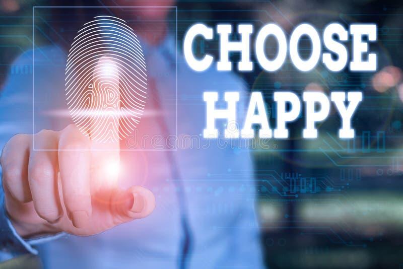 Konzeptionelle Handschrift mit dem Titel Choose Happy Geschäftsfotografie zeigt die Fähigkeit, wirkliches und dauerhaftes Glück f stockbild
