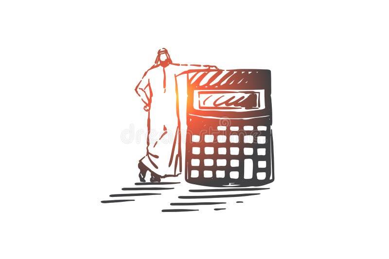 Konzeptionskizze für die Berechnung des Geschäftsrisikos Handgezogener, isolierter Vektor stock abbildung