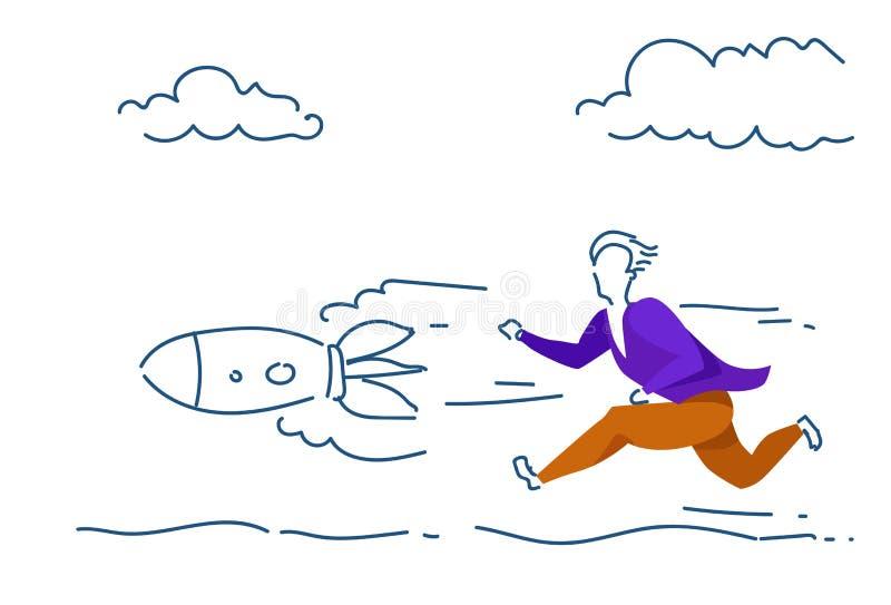 KONZEPTmann der laufenden Startrakete des Geschäftsmannes färbte Starthorizontales der erfolgreichen Strategie des Schattenbildes vektor abbildung
