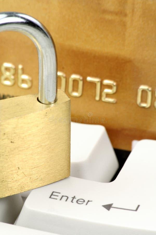 Konzeptonlineeinkaufen oder Bankverkehrssicherheit lizenzfreies stockfoto