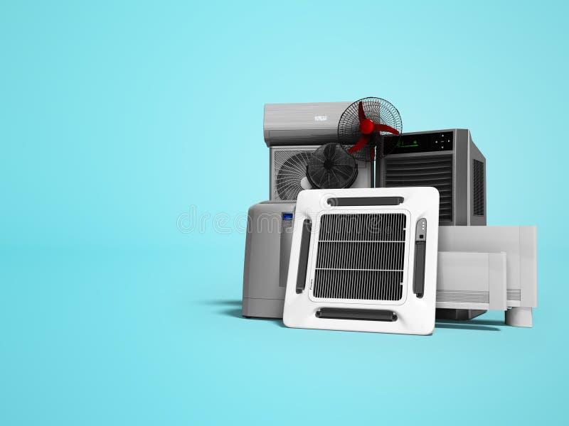 Konzeptsatz Ausrüstung für die Heizung und das Abkühlen von Voraussetzungen 3d übertragen auf blauem Hintergrund mit Schatten stock abbildung