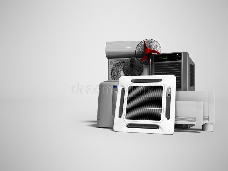 Konzeptsatz Ausrüstung für die Heizung und das Abkühlen von Voraussetzungen 3d übertragen auf grauem Hintergrund mit Schatten vektor abbildung