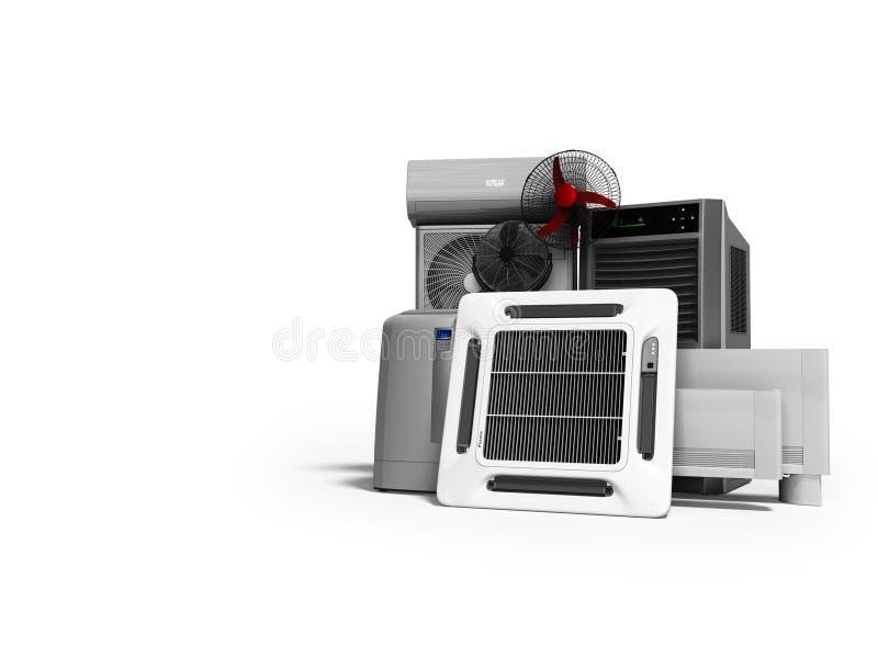 Konzeptsatz Ausrüstung für die Heizung und das Abkühlen von Voraussetzungen 3d übertragen auf weißem Hintergrund mit Schatten lizenzfreie abbildung