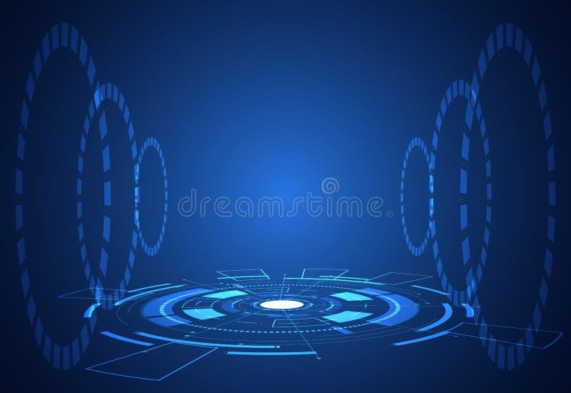 Konzeptschnittstellen-Hologramm elemen der abstrakten Technologie futuristische lizenzfreie abbildung