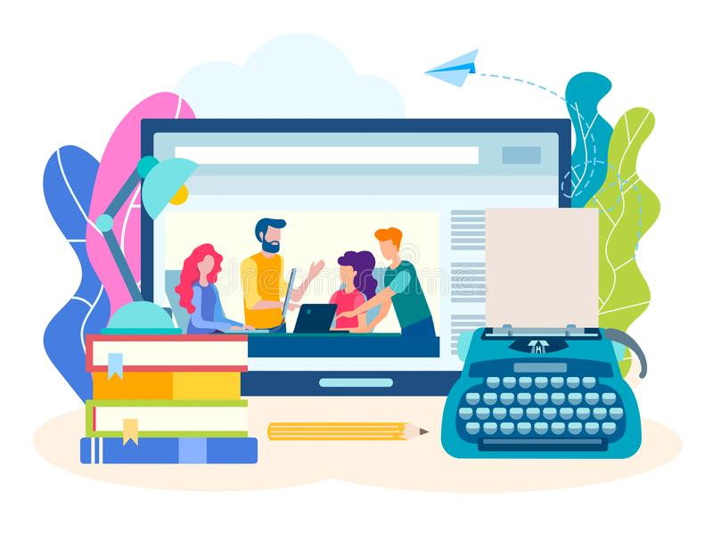 Konzeptschreibenskurse online, kreatives literarisches webinar vektor abbildung