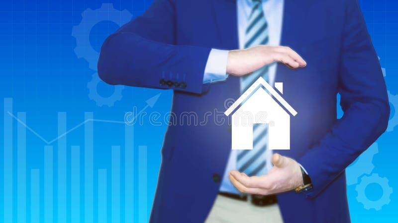 Konzeptsicherheit des Eigentums Versicherungshaus, Auto, Geld Versicherungsagent hält in der Hand vom Haus, Schutz vor Gefahr, vektor abbildung