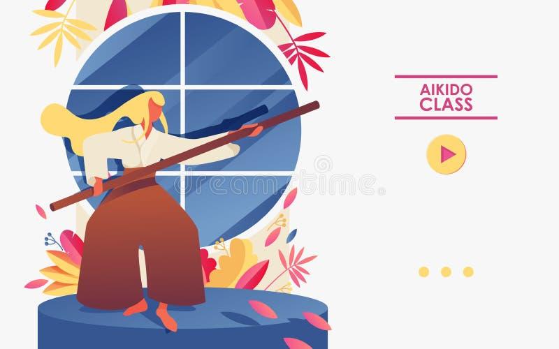 Konzeptsportturnhallen-Illustrationsschablone gut für die Landung der Seite oder der Aikidotrainingsfahne Frau mit Stock vor Fens vektor abbildung