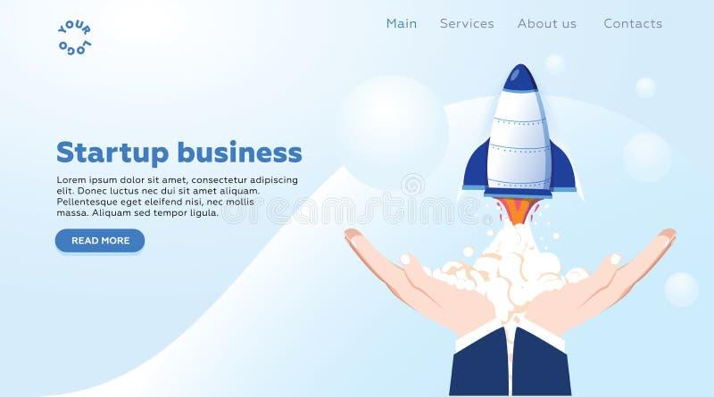 Konzeptstartprodukteinführung eines neuen Geschäfts für Webseite, Fahne, Darstellung, Social Media, Geschäftsprojekt beginnen obe lizenzfreie abbildung