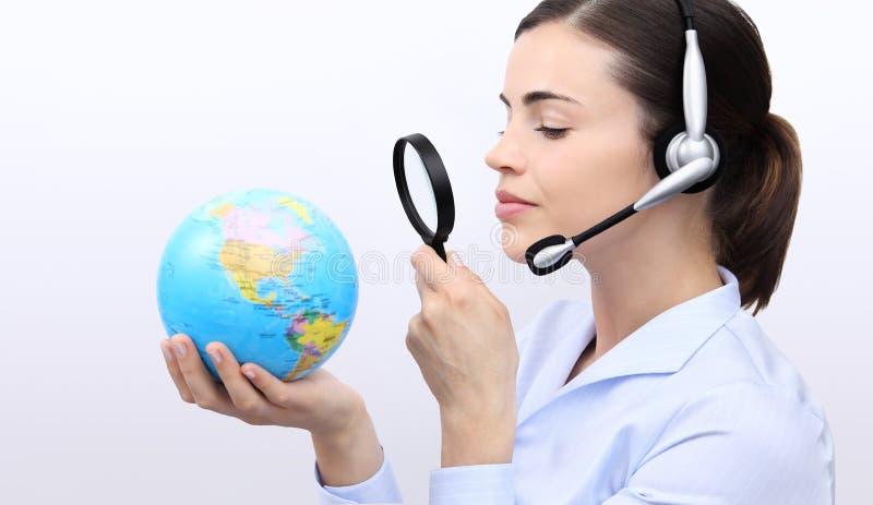 Konzeptsuche, Kundendienst-Betreiberfrau mit Kopfhörer stockbilder
