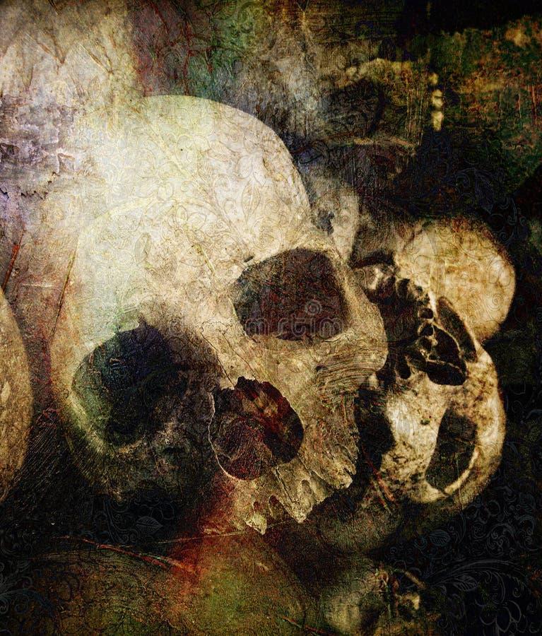 Konzepttod mit den menschlichen Schädeln mit Schmutz überlagert lizenzfreies stockfoto
