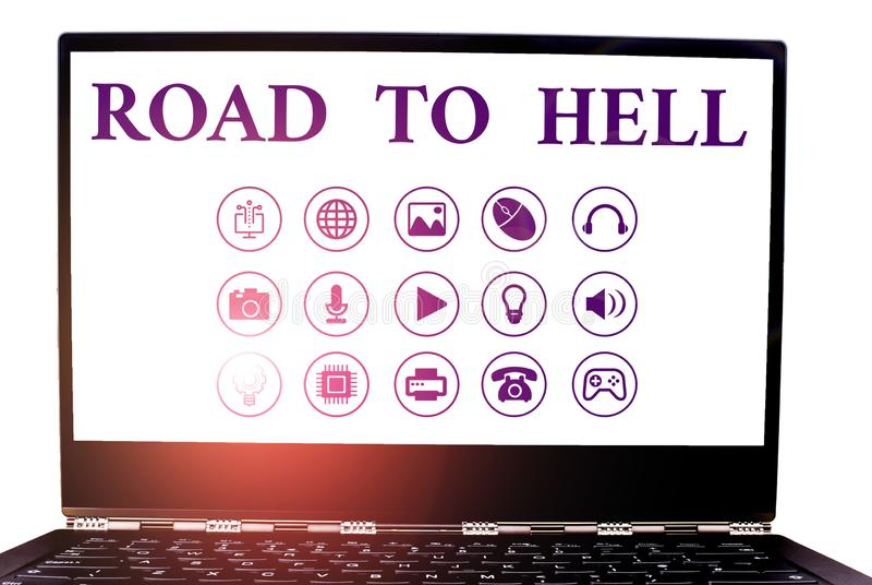 Konzeptuelle Handschrift, die den Weg zur Hölle zeigt Geschäftsfoto zeigt extrem gefährliche Passage Dark Ri Unsafe lizenzfreie stockfotografie