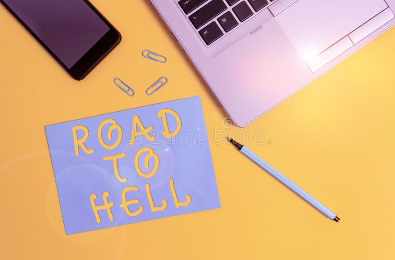 Konzeptuelle Handschrift, die den Weg zur Hölle zeigt Geschäftsfoto zeigt extrem gefährliche Passage Dark Ri Unsafe lizenzfreies stockfoto
