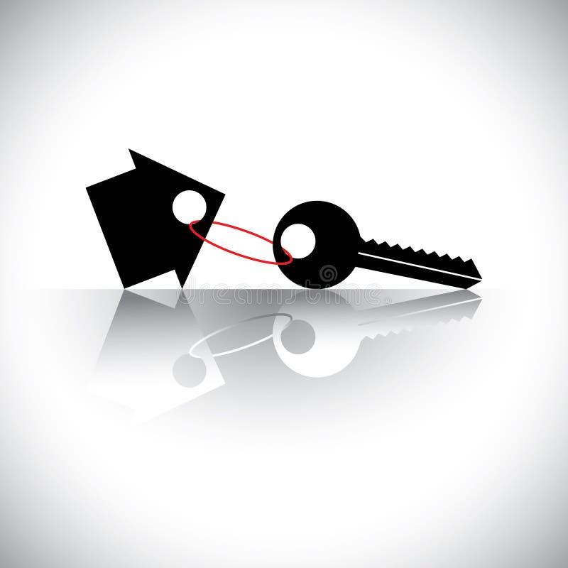 Konzeptvektor des kaufenden haus- Schlüsselanhängers mit ho vektor abbildung
