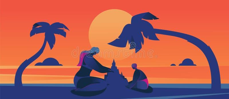 Konzeptvektorillustration mit Sonnenuntergangszene mit Überformatmutter und dem Kind, die Sandburg macht Heiße Farben des Sommers lizenzfreie abbildung