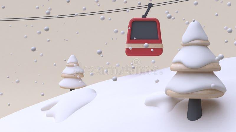 Konzeptzusammenfassungsschneegebirgshügelaufzugbaumkarikaturartholz-Spielzeug-Sahnehintergrund 3d des neuen Jahres des Winterschn lizenzfreie abbildung