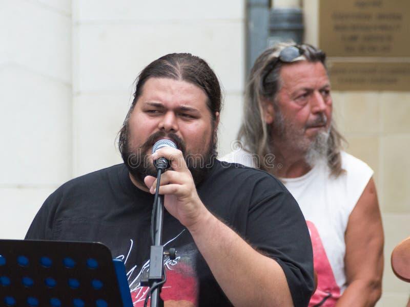 Konzert der schäbigen Blau-Band auf Keszthely-Straßenfest stockfotografie