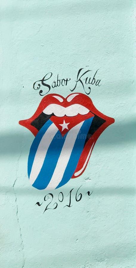Konzert 2016 Kuba - Logo Rolling Stoness auf Wand lizenzfreie stockbilder