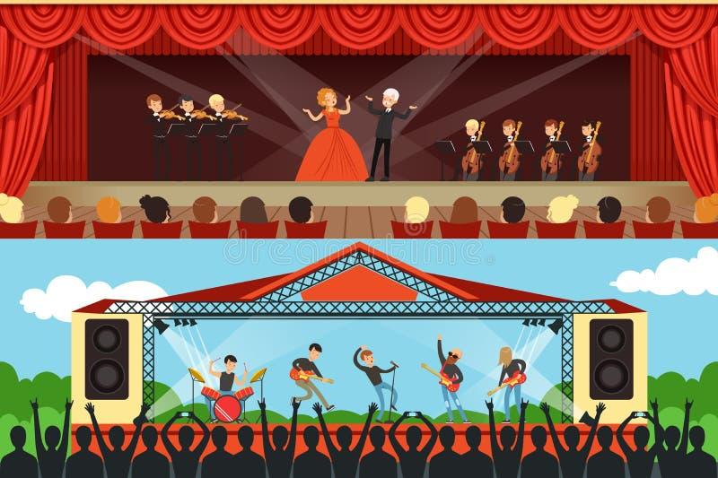 Konzerte eingestellt mit Musiker- und Künstlercharakteren vektor abbildung