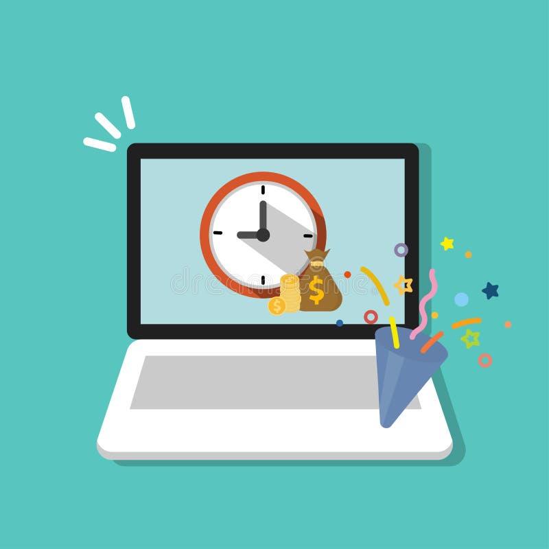 Konzipieren Sie für Kaffeebroschüre Borduhr mit den Händen in Form von Löffeln und Gabeln Zeit ist Geld Konzept auf Laptop, Compu stock abbildung