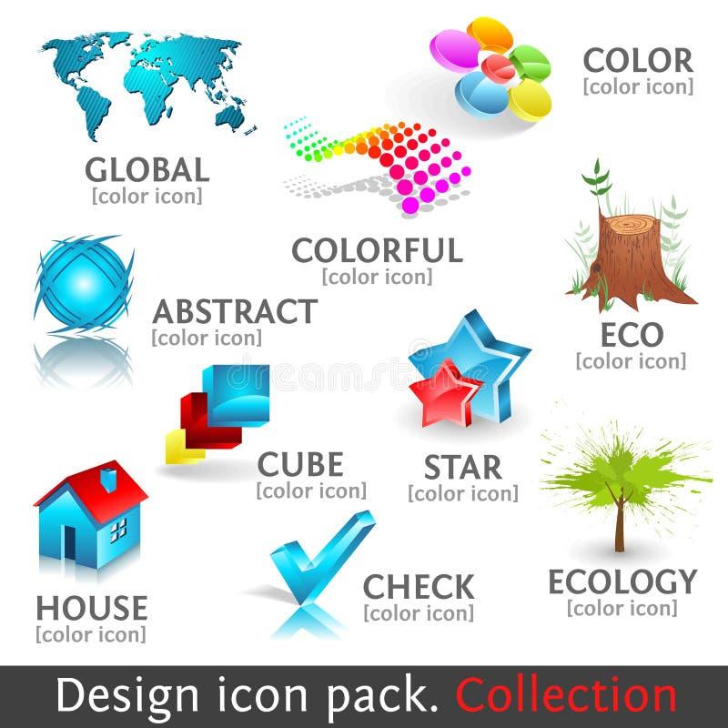 Konzipieren Sie Ikonenset der Farbe 3d. Ansammlung stock abbildung