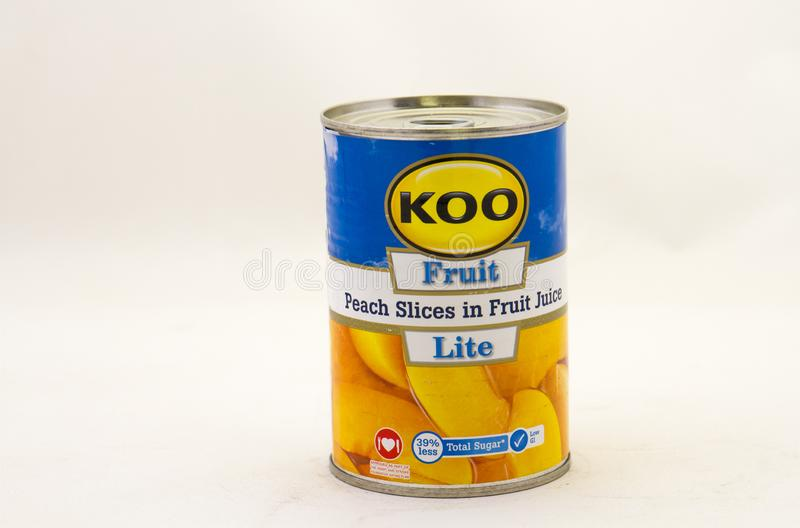 Koo brand canned peach slices available in South Africa stock photography